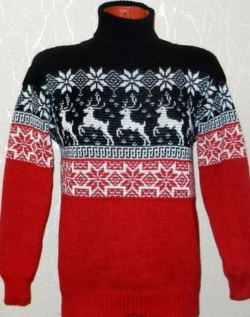 Свитер вязаный  с оленями и норвежским орнаментом Красное и черное. ручной работы на заказ