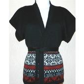 Жилет-кимоно вязаный с норвежским орнаментом, оверсайз
