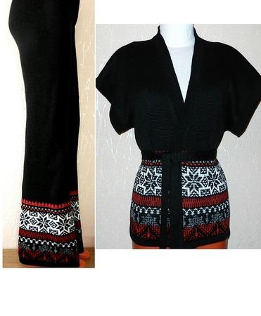 Жилет-кимоно вязаный с норвежским орнаментом, оверсайз ручной работы на заказ