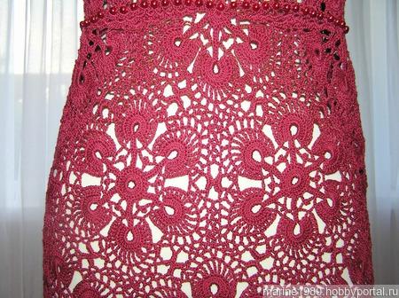 Платье крючком винного цвета ручной работы на заказ