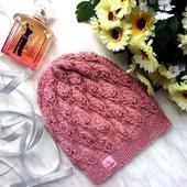 """Шапка вязаная """"Розовая дымка"""", вязаная  шапочка, женская вязаная шапка"""