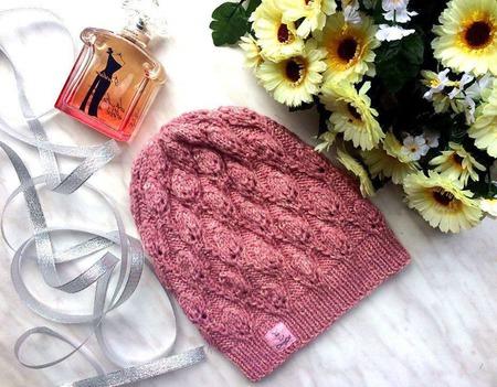 """Шапка вязаная """"Розовая дымка"""", вязаная  шапочка, женская вязаная шапка ручной работы на заказ"""