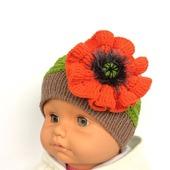 """Детская шапка """"Красный Мак"""", шапочка вязаная детская, шапка с цветком"""