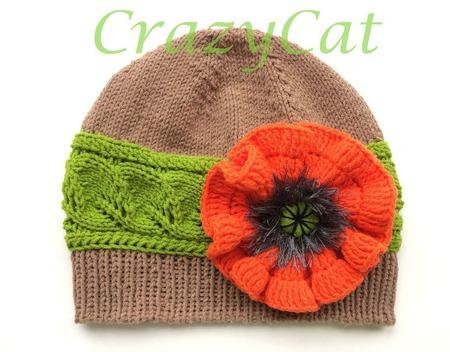 """Детская шапка """"Красный Мак"""", шапочка вязаная детская, шапка с цветком ручной работы на заказ"""