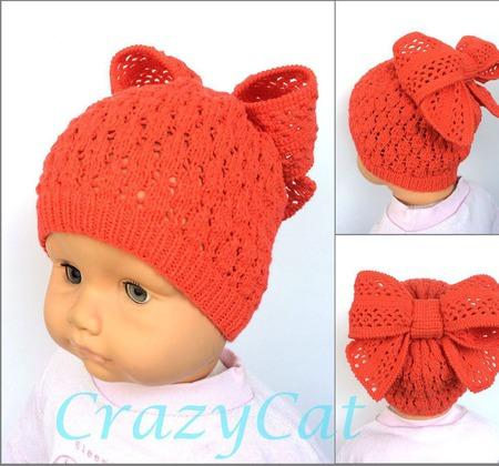 """Детская шапка """"Милашка"""", шапочка детская, шапка вязаная для девочки ручной работы на заказ"""