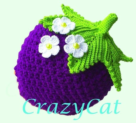 """Детская шапка """"Ежевичка"""", шапочка вязаная детская, шапка с цветком ручной работы на заказ"""