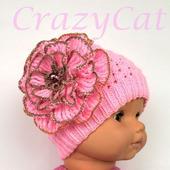 """Шапка вязаная """"Casual"""" в розовом цвете, шапочка вязаная с цветком"""