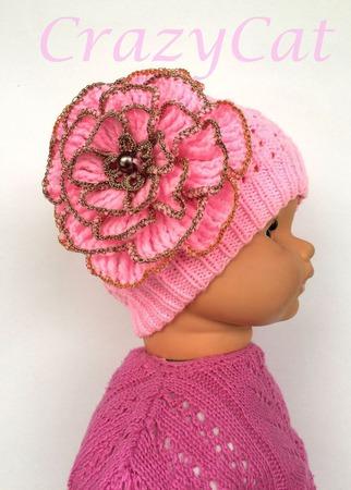 """Шапка вязаная """"Casual"""" в розовом цвете, шапочка вязаная с цветком ручной работы на заказ"""