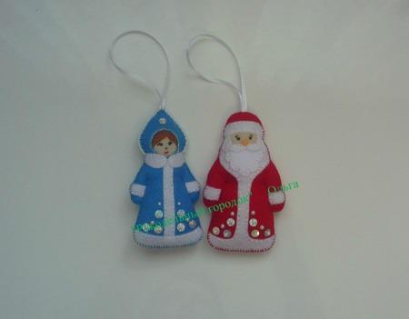 Дед Мороз и Снегурочка из фетра (пара) ручной работы на заказ