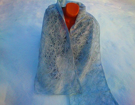 """Валяный шарф-паутинка """"Морозное утро"""" ручной работы на заказ"""
