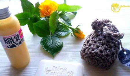 Мочалка-чехол на мыло + мыло ручной работы на заказ