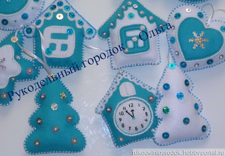 Набор елочных игрушек из фетра (11 штук) ручной работы на заказ