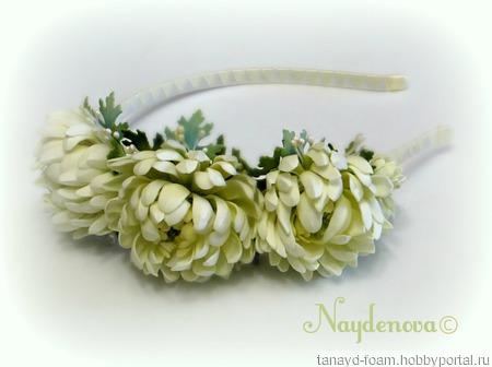 Ободок с хризантемами ручной работы на заказ