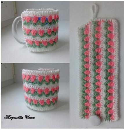 Чехол грелка на кружку Цветы ручной работы на заказ