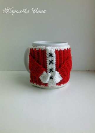 Чехол грелка на кружку Дед Мороз ручной работы на заказ
