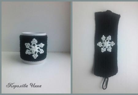 Чехол грелка на кружку Снежинка ручной работы на заказ