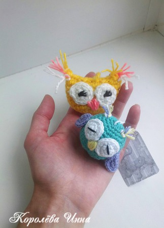 Игрушки-брелоки Совушки ручной работы на заказ