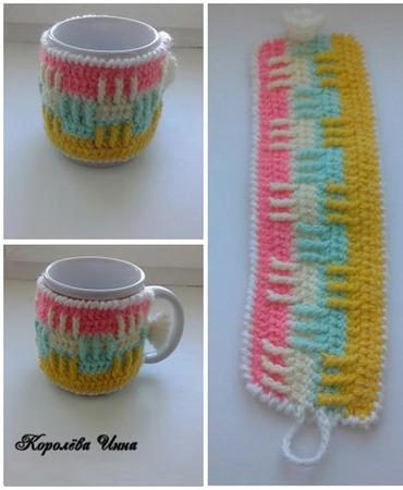 Чехол грелка на кружку Разноцветная дорожка ручной работы на заказ