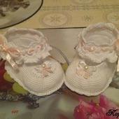 Пинетки туфельки для принцесс крючком