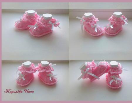 Пинетки туфельки для принцесс крючком ручной работы на заказ