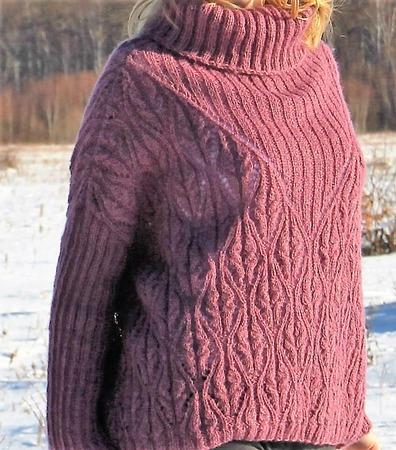 """Вязаный свитер оверсайз """"Зимний вереск"""" ручной работы на заказ"""