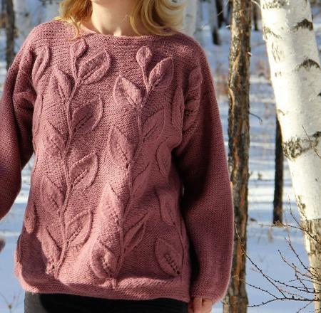 """Вязаный пуловер """"Листья"""" ручной работы на заказ"""
