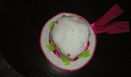 Шляпа на девочку крючком. Маленькая леди. ручной работы на заказ