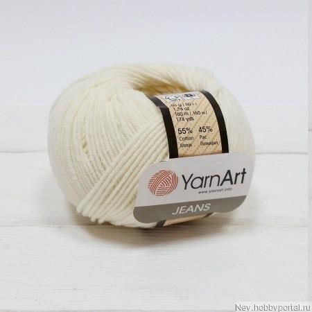 Пряжа YarnArt Jeans 03 молочный ручной работы на заказ