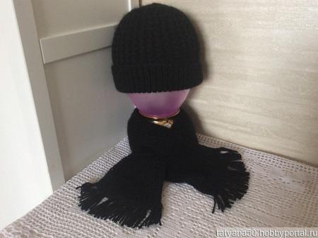 Комплект осенний шапочка и шарфик ручной работы на заказ