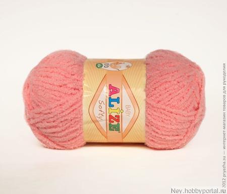 Пряжа Alize Softy (Софти) 265 розовый лепесток ручной работы на заказ