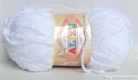 Пряжа Alize Softy (Софти) 55 белый ручной работы на заказ