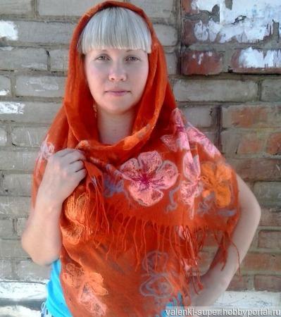 """Палантин """"Оранжевое лето"""" ручной работы на заказ"""