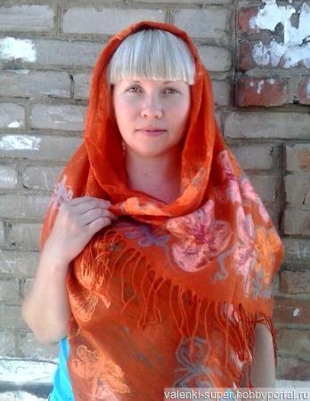 Палантин Оранжевое лето ручной работы на заказ