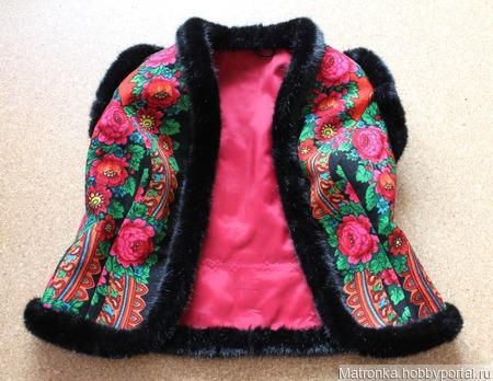 Жилет из Павловопосадского платка ручной работы на заказ