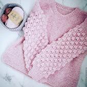 Купить вязаный свитер Малинки ручной работы в Москве
