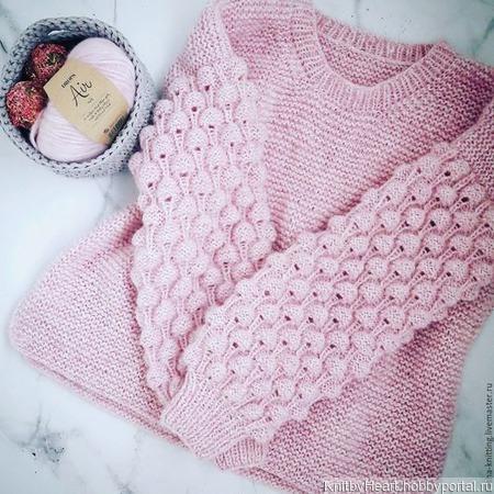Вязаный свитер Малинки ручной работы ручной работы на заказ
