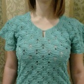 Ажурная вязаная блузка крючком