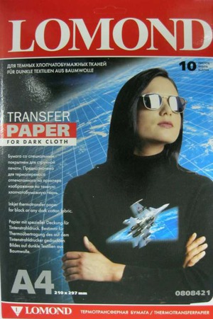 Термотрансферная бумага Lomond для темных тканей, 10 шт., A4, Ломонд ручной работы на заказ