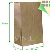 Крафт пакет 28x13х7 см бумажный, коричневый, прямоугольное дно