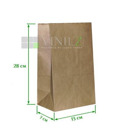 Крафт пакет 28x13х7 см бумажный, коричневый, прямоугольное дно ручной работы на заказ