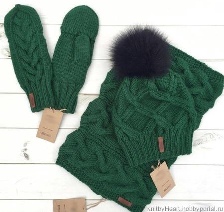 Комплект вязаная шапка, снуд и варежки-митенки ручной работы на заказ