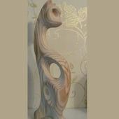 Скульптура из дерева Кошка Буся