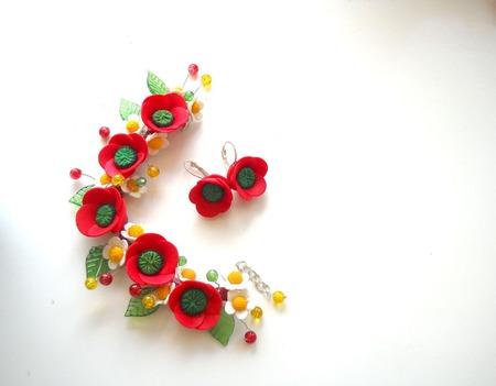 Комплект с маками и ромашками Маков цвет ручной работы на заказ