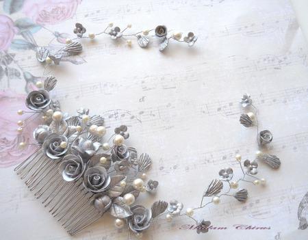Серебристый гребнь для прически ручной работы на заказ