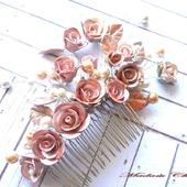 Роскошный гребень с перламутровыми розами