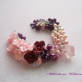 Нарядный комплект браслет и серьги Сливово - розовый дуэт