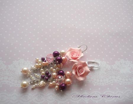 Нарядный комплект браслет и серьги Сливово - розовый дуэт ручной работы на заказ