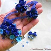 Синее колье с цветами