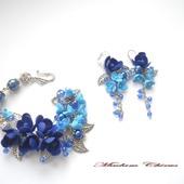 Комплект с жемчугом и синими фрезиями Синий ажур