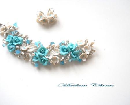 Серебристо - голубое  украшение ручной работы на заказ